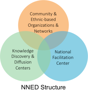 NNED Structure consists of Community & Ethnic-based Organizations & Networks; Knowledge Discovery & Diffusion Centers; and the National Facilitation Center