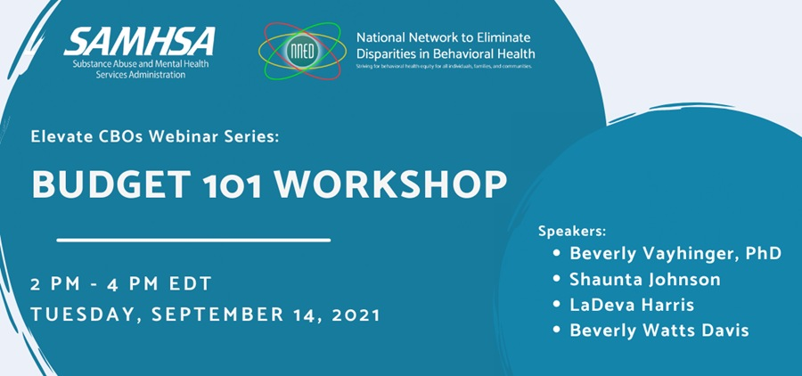 Preview of the Budget 101 Workshop flyer which includes the name of the session, the time and date, and speakers featured in blue circles along with the logos for SAMHSA and the NNED.