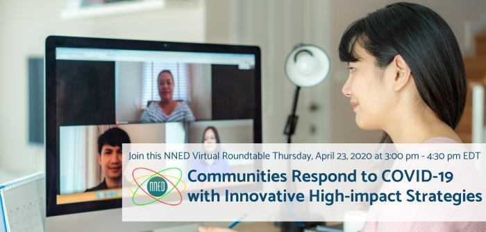 Communities Respond to COVID-19 with Innovative High-Impact Strategies banner image of people video-chatting