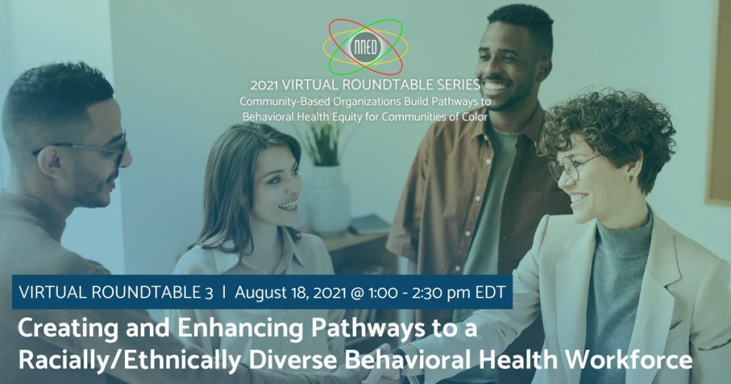 NNED Virtual Roundtable 3 promotional image with people smiling and meeting each other